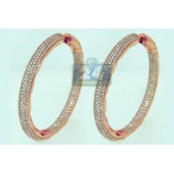 14K Rose Gold 14.42 ct Diamond Womens Hoop Earrings 2 1/4 Inches