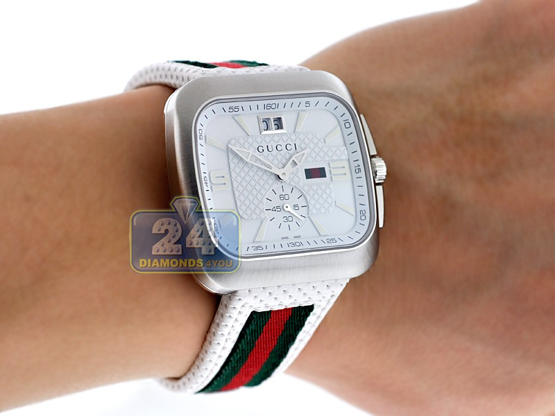 1f01d212379 Gucci Coupe Quartz Web White Dial Mens Steel Watch YA131303