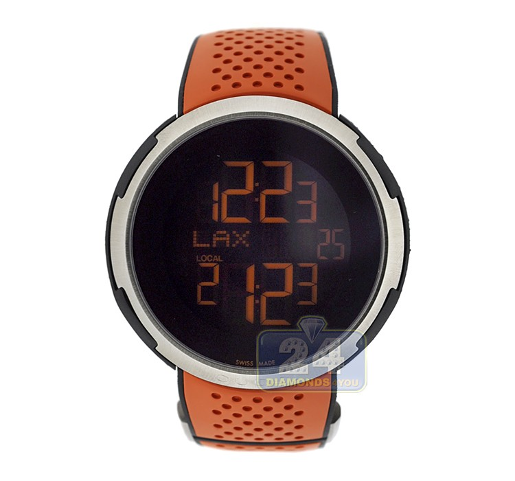 gucci i gucci digital orange rubber mens ya114104