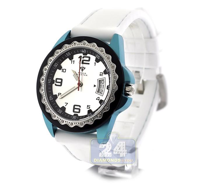 Aqua master white rubber diamond womens blue watch for Aqua marine watches