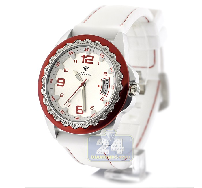 Aqua master white rubber diamond womens steel watch for Aqua marine watches