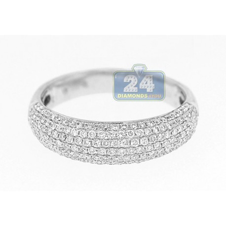 14K White Gold 0.77 ct Pave Diamond Womens 6 mm Wide Band Ring