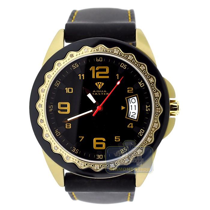 Aqua master black rubber diamond womens gold watch for Aqua marine watches