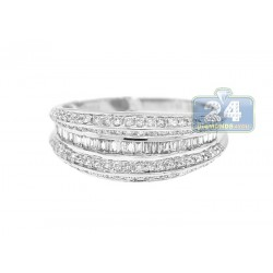 14K White Gold 0.84 ct Diamond Womens Band Ring