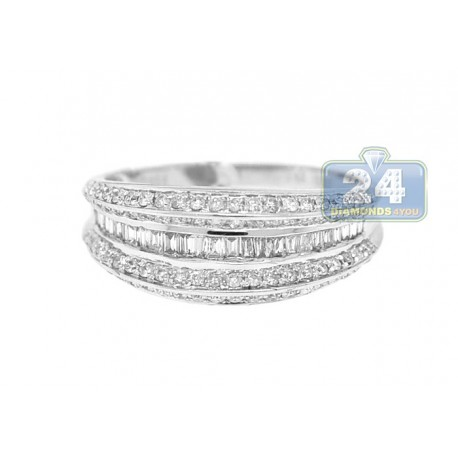 14K White Gold 0.84 ct Baguette Round Diamond Womens Vintage Band Ring