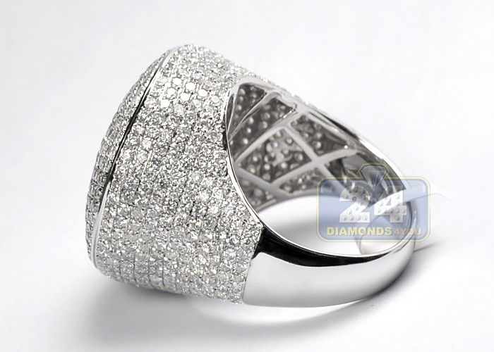 Mens Large Round Shape Pave Diamond Ring 14k White Gold 6 29ct