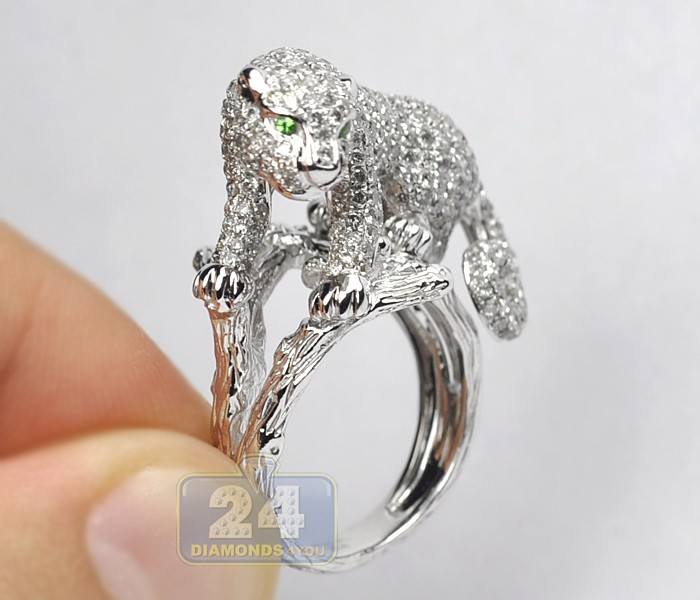 Womens Diamond Pave Panther Cat Ring 14k White Gold 3 55 Ct