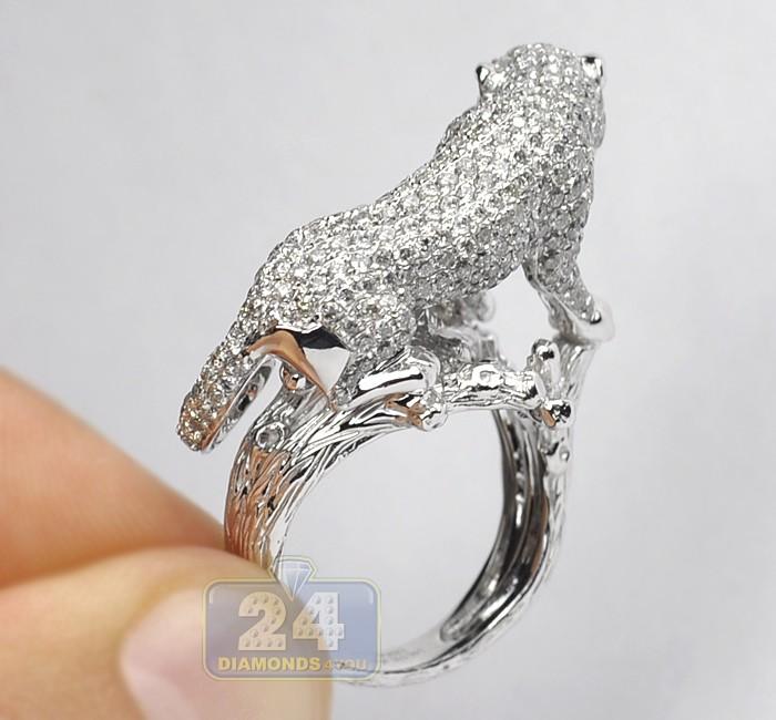14k White Gold 3 55 Ct Diamond Womens Panther Cat Ring