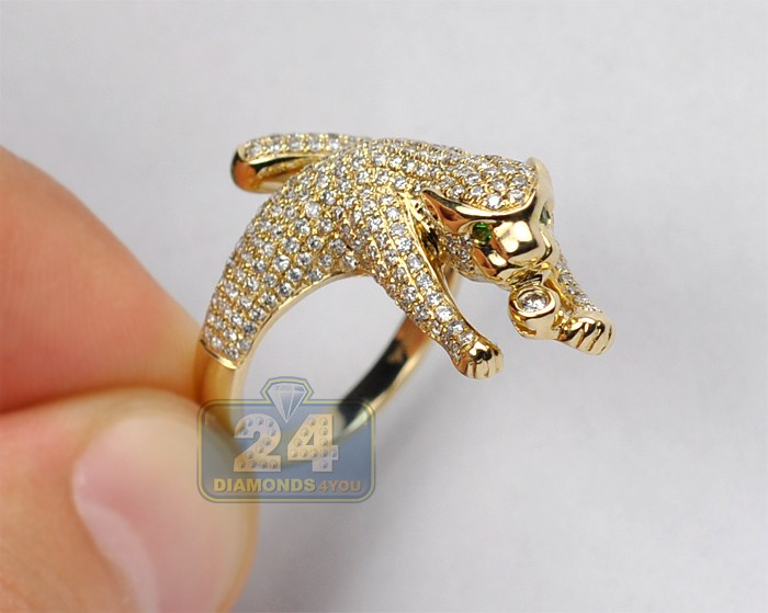womens 1 32 ct diamond small panther cat ring 14k yellow gold