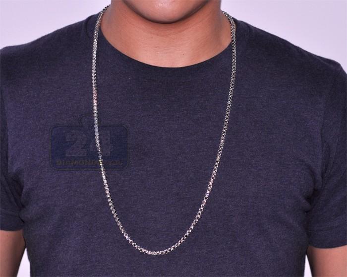Mens Black Diamond Tennis Chain 14k White Gold 17 30 Ct 33