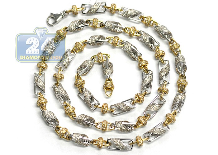Mens Diamond Bead Link Chain 14k Two Tone Gold 17 51ct 7mm 30 Quot
