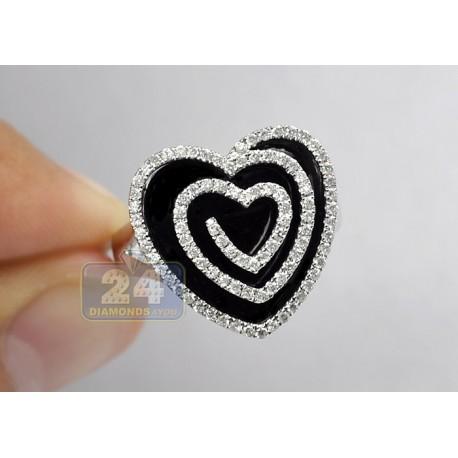14K White Gold 0.73 ct Diamond Black Ceramic Womens Heart Cocktail Ring