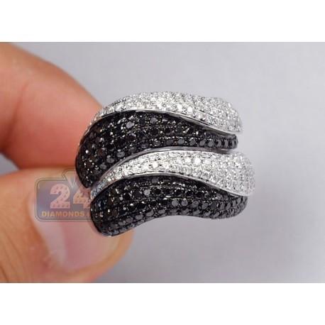 14K Gold 3.54 ct Black White Diamond Womens Wave Ring