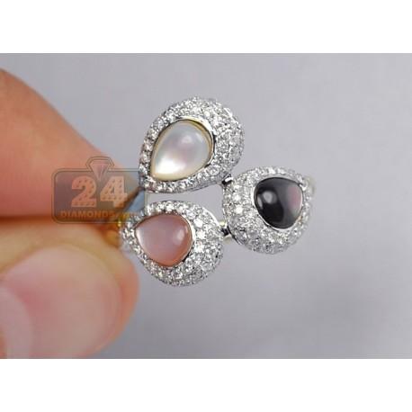 14K Yellow Gold 1.04 ct Diamond Multi Colored Opal Womens Ring