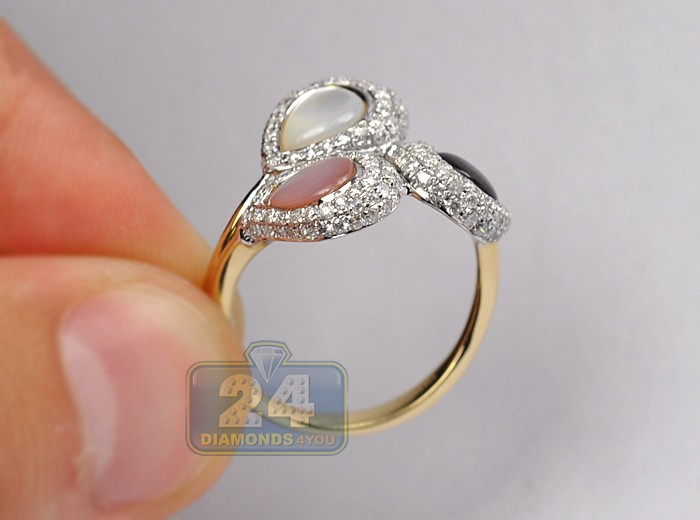 Womens Diamond Multi Colored Opal Ring 14k Yellow Gold
