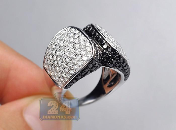 4 05 Ct Black Diamond Womens Cocktail Ring 14k White Gold