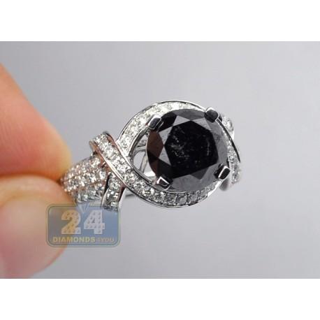 14K White Gold 5.45 ct Black Diamond Engagement Ring