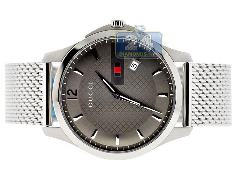 0c80c1bbac0 ... Gucci G-Timeless Slim Steel Mesh Bracelet Mens Watch YA126301 ...