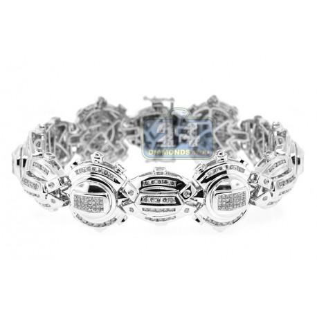 """Mens Diamond Link Bracelet 14K White Gold 5.52 ct 24mm 8"""""""