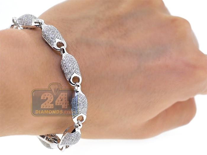 mens diamond pave bullet puff link bracelet 14k white gold. Black Bedroom Furniture Sets. Home Design Ideas