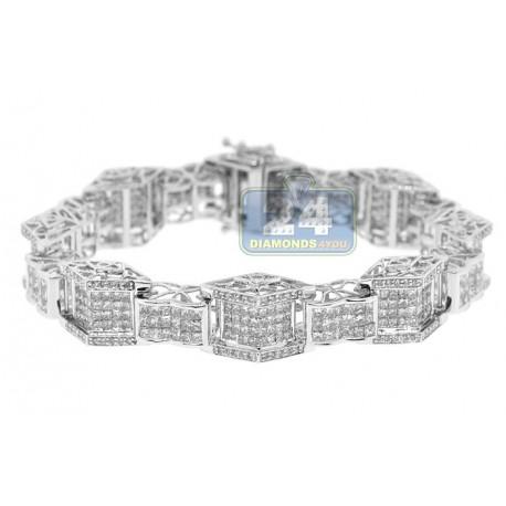 "Mens Diamond Puff Bracelet 14K White Gold 13.55 ct 15mm 8.5"""