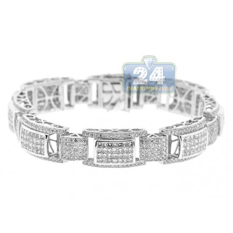 Mens Princess Diamond Bracelet 14K White Gold 13.01 ct 12mm 8.25""