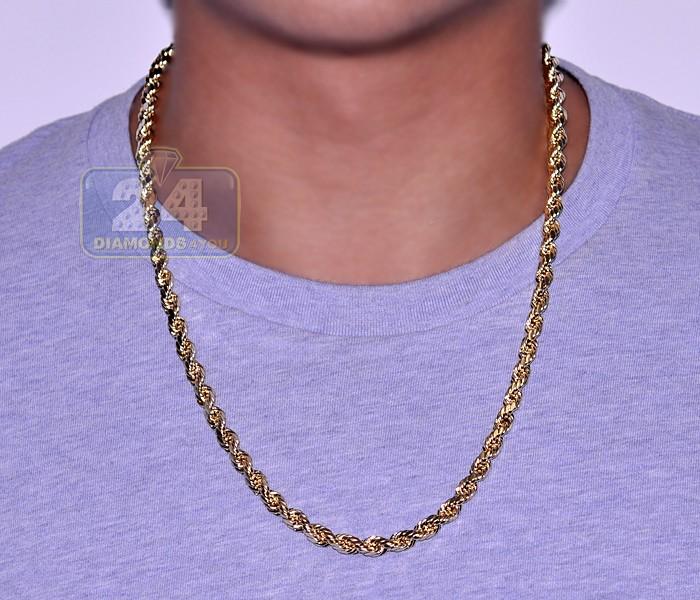 b64d08c8fd8c4 Italian 10K Yellow Gold Hollow Rope Mens Chain 5 mm