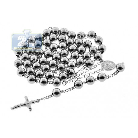 Stainless Steel Mens Jumbo Rosary Chain 44 Inches
