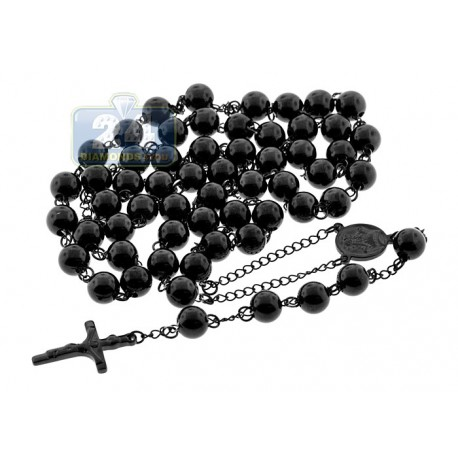 Black PVD Stainless Steel Mens Jumbo Rosary Chain 44 Inches