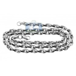 Stainless Steel Mens Twisted Link Chain 28 Inches