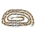 Two Tone Stainless Steel Mens Twisted Link Chain 28 Inches
