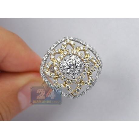 14K 2 Tone Gold 2.80 ct Diamond Vintage Openwork Cocktail Ring