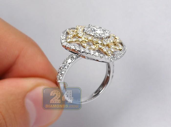 Womens Diamond Vintage Openwork Cocktail Ring 14k Gold 2 80 Ct
