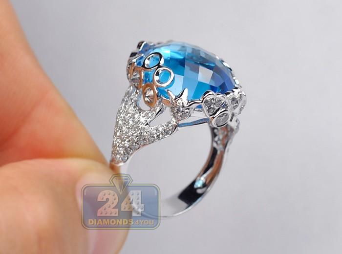Blue Topaz Diamond Vintage Cocktail Ring 14k Gold 17 20 Ct
