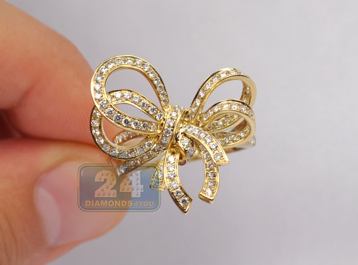 Womens Diamond Bow Cocktail Ring 14k Yellow Gold 1 37 Carat