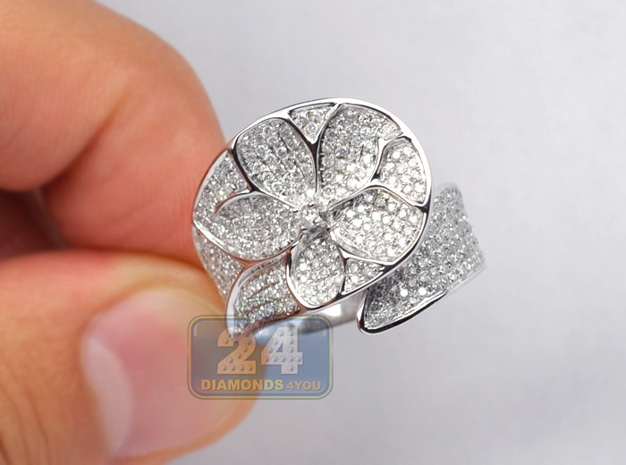 Womens 1 14 Ct Diamond Flower Leaf Band Ring 14k White Gold