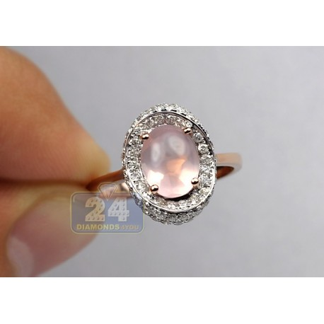 14K Rose Gold 2.60 ct Pink Quartz Diamond Halo Womens Cocktail Ring