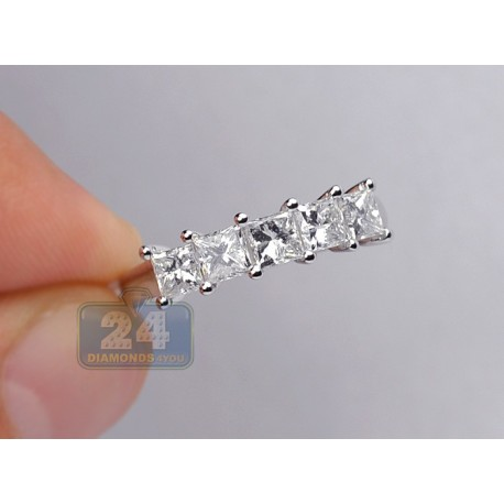14K White Gold 1.83 ct 5 Stone Princess Cut Diamond Anniversary Ring