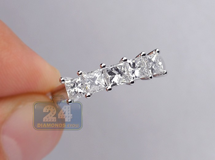 Womens 5 Stone Princess Cut Diamond Anniversary Ring 14k Gold