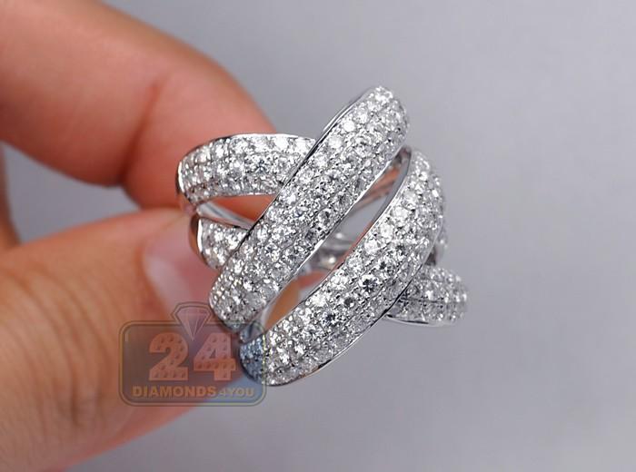 Womens 5 02 Ct Diamond Large Criss Cross Ring 14k White Gold