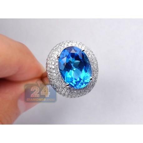 14K White Gold 13.15 ct Swiss Blue Topaz Diamond Cocktail Ring