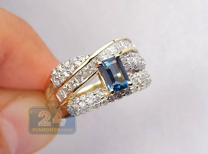 Womens London Blue Topaz Diamond Band Ring 14k Yellow Gold