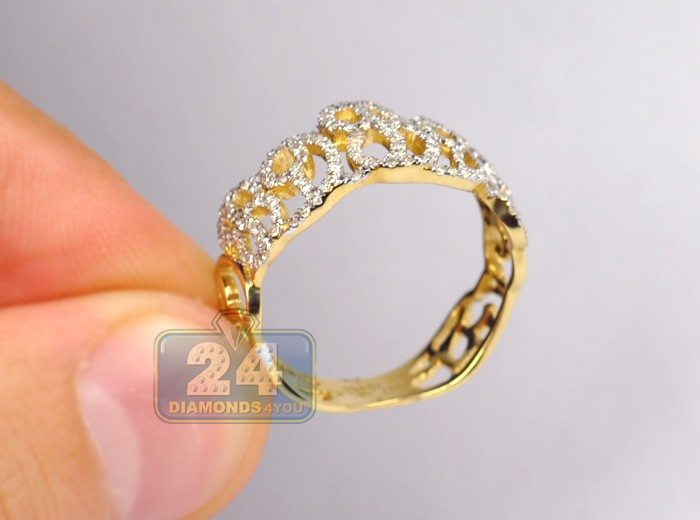 Womens Diamond Openwork Filigree Band Ring 14K Yellow Gold