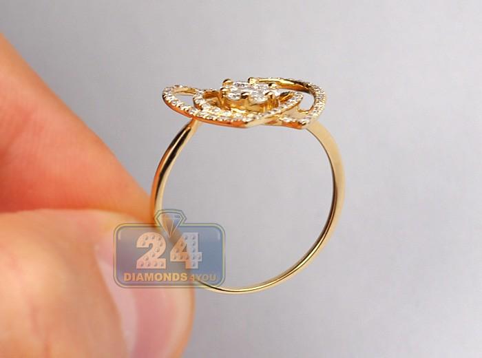 Womens Diamond Cluster Openwork Heart Ring 14k Yellow Gold