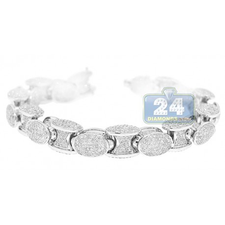 14K White Gold 17.75 ct Diamond Pave Link Mens Bracelet 8.5 Inches