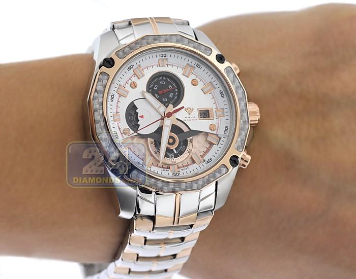 Aqua master carbon chronograph mens rose tone watch for Aqua marine watches