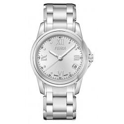 F235160 Fendi Loop Round Silver Dial Steel Bracelet Mens Watch