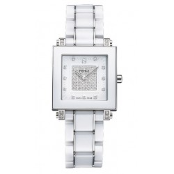 F626140DPDC Fendi White Ceramic Square Diamond Dial Watch