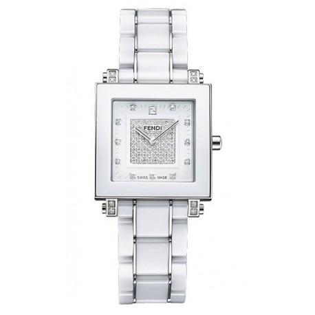 F626140DPDC Fendi White Ceramic Square Diamond Dial Watch