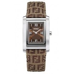 F768222 Fendi Loop Rectangle Brown Fabric Womens Watch 21mm